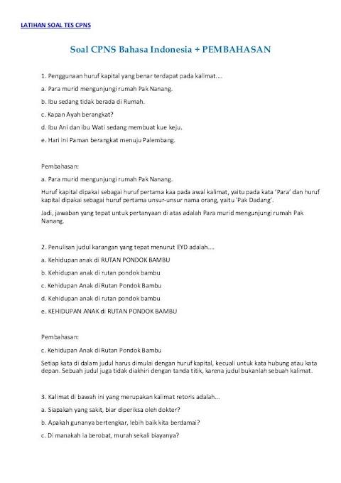 Contoh Soal Assessment Karyawan - Tes Psikotes