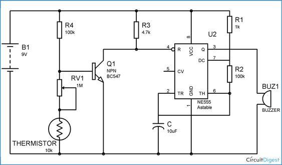 Simple Fire Alarm Circuit Diagram Using Thermistor