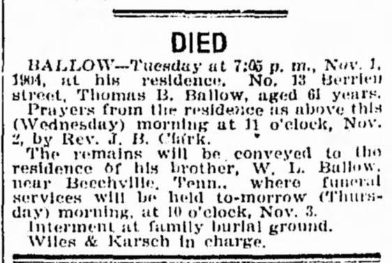 So Many Ancestors!: Sunday's Obituary: Thomas Burwell Ballow