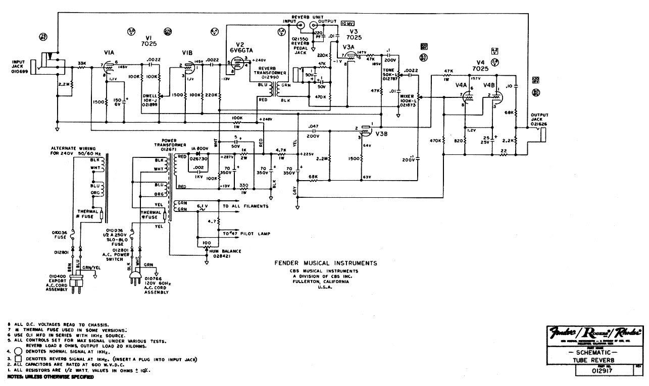 Princeton Reverb Schematic