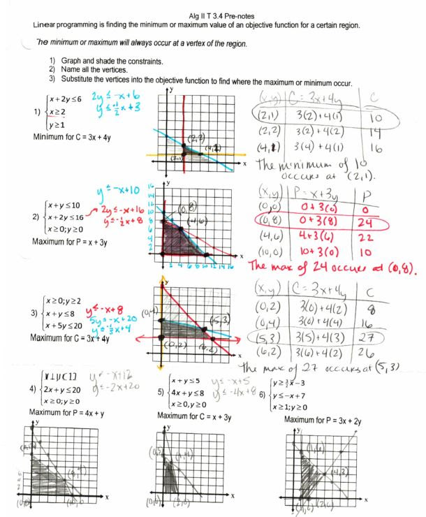 Linear Programming Worksheet : linear, programming, worksheet, Linear, Programming, Worksheet, Algebra, Spreadsheet