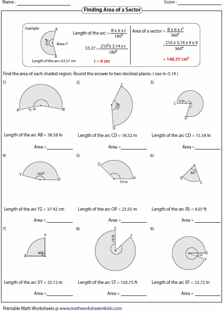 64 PRINTABLE MATH WORKSHEETS ARC LENGTH AND AREA OF A SECTOR