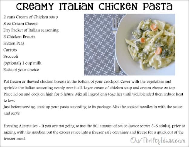 Our Thrifty Ideas: Creamy Italian Chicken Pasta in the crockpot