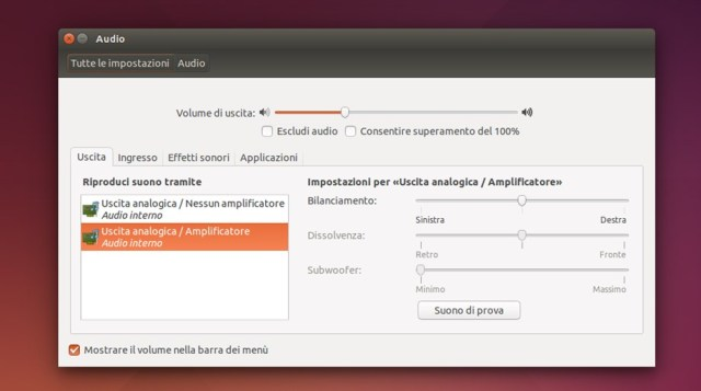 ubuntu impostazioni audio | GrecTech