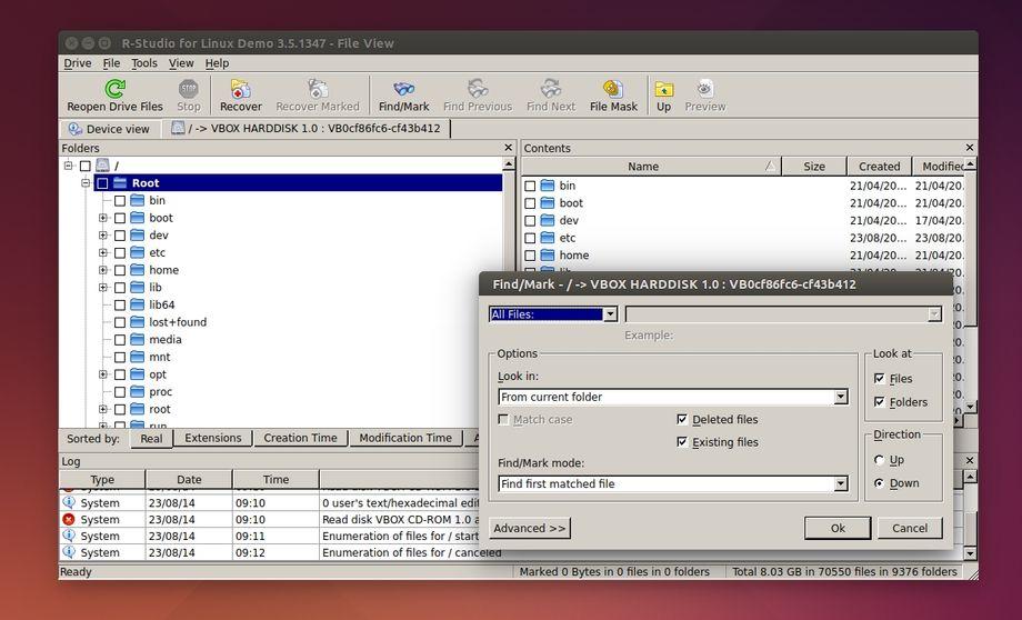 R-Studio Data Recovery in Ubuntu - File System