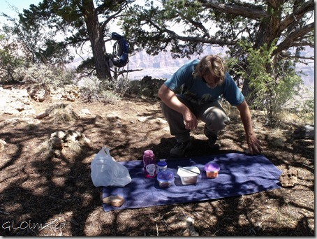 Mike setting out picnic at Cape Final North Rim Grand Canyon National Park Arizona