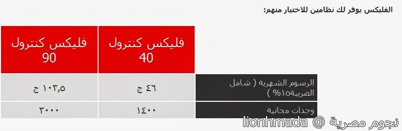 نظام جديد من فودافون مصر كنترول فليكس فليكس 40 و فليكس 90