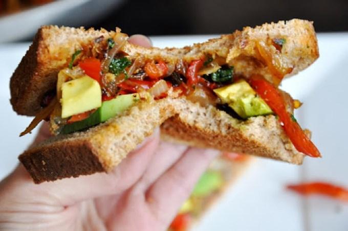 avocado   caramelized red pepper & onion sandwich 103