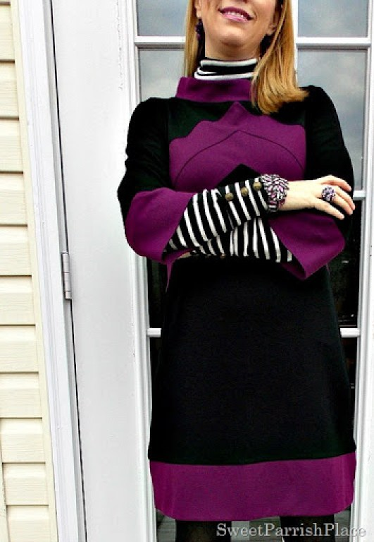 black and purple tunic dress with black boots3