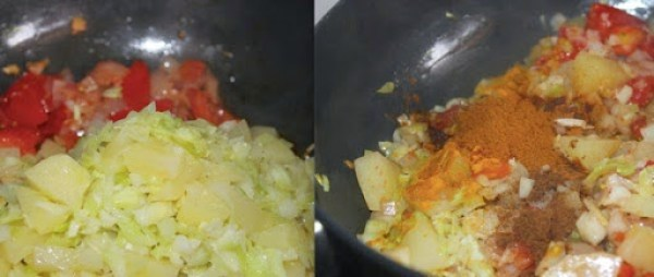 Cabbage Aloo Fry step 5