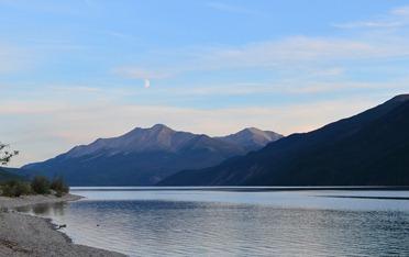 moonrise over Muncho Lake