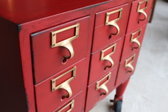 red library card catalog
