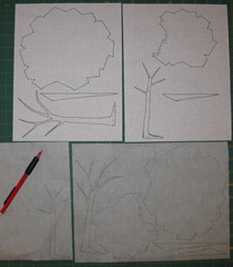 3_T.Aske_TwoTrees_tracing on fusible web