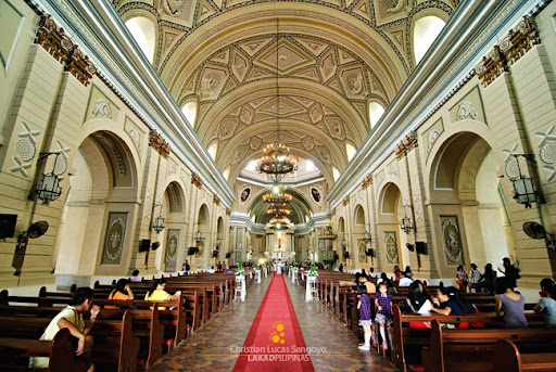 The interior of Taal Basilica  just before a Mass is celebrated