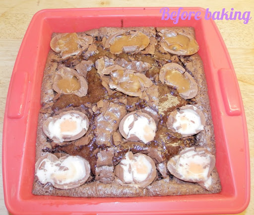 Creme egg brownie before baking
