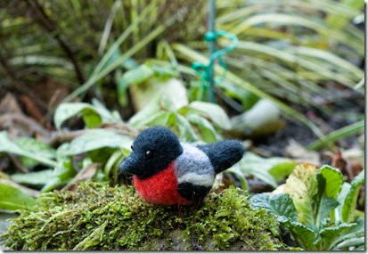 Needle Felted Garden Bird Bullfinch