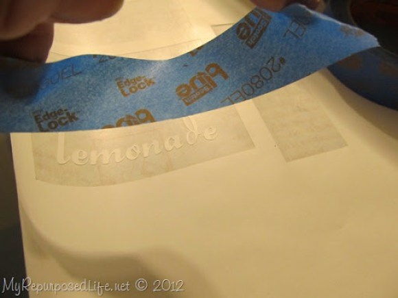 stenciled beverage tags Scotch Blue Painters Tape