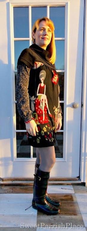 Lady tunic dress rain boots2