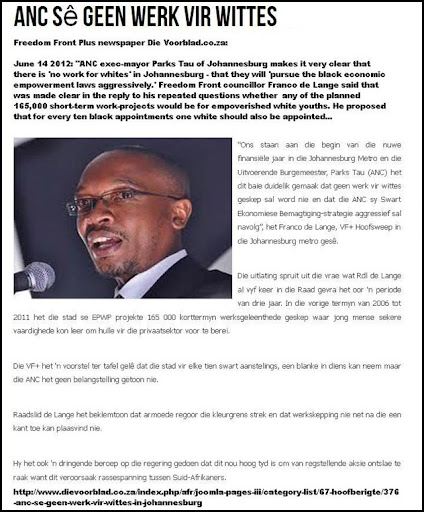 whites denied all jobs by ANC mayor Parks Tau Johannesburg June1420122 DIEVOORBLAD FREEDOMFRONTPLUS