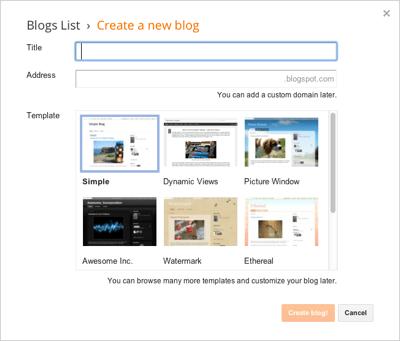 Blogger Create a New Blog