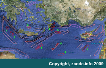 Map of Hydrocarbons in East Mediterranean Sea