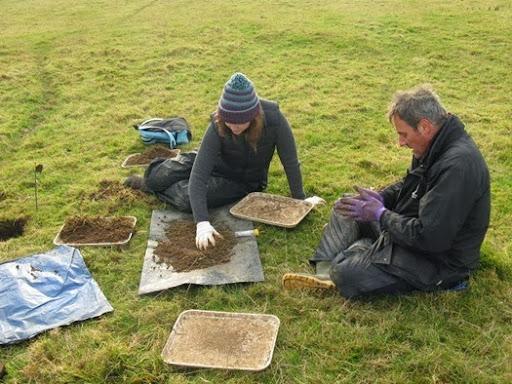 Dr David Jones and Jo sorting soil in Loddington, Leicestershire