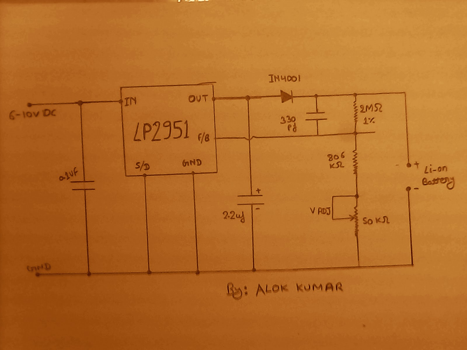 Liion Battery Charger Circuit Using Ic Lp2951 Schematic Circuits