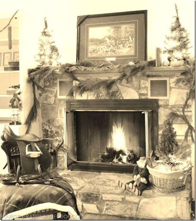 equestrian christmas mantel vintage look