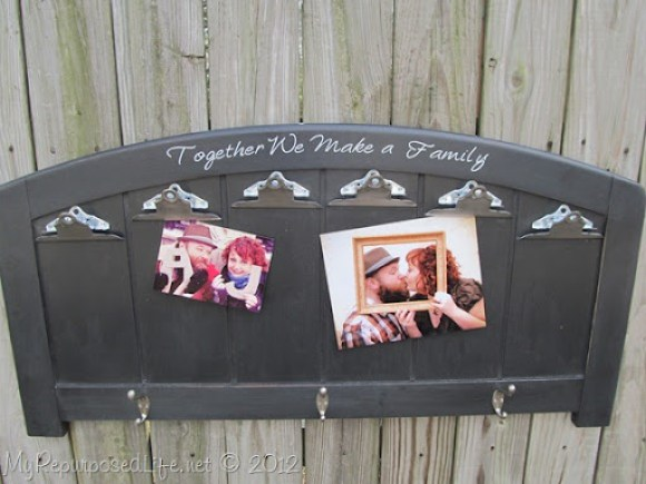 repurposed headboard photo display (11)