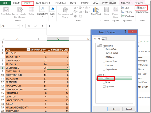 Adding slicer to pivot table