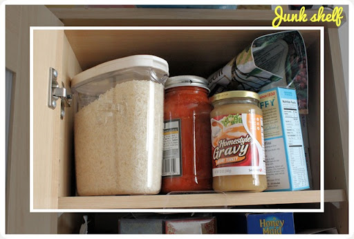 kitchen cupboard junk shelf