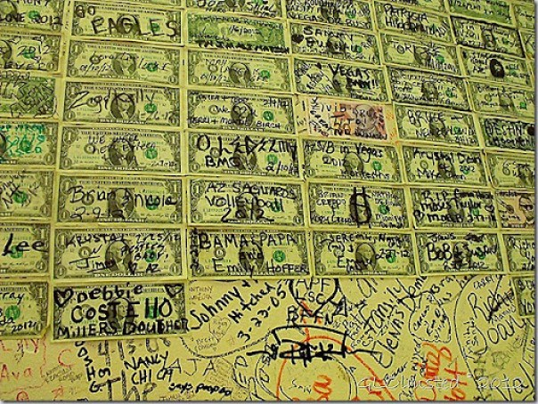 Dollar bills & signitures on walls inside Chicago Style Eatry SR93 Wikeup Arizona