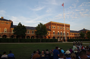 The parade ground inside the barracks, before the sun went down.