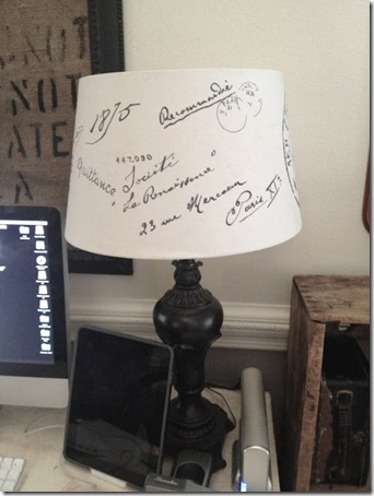 french script lampshade knockoff