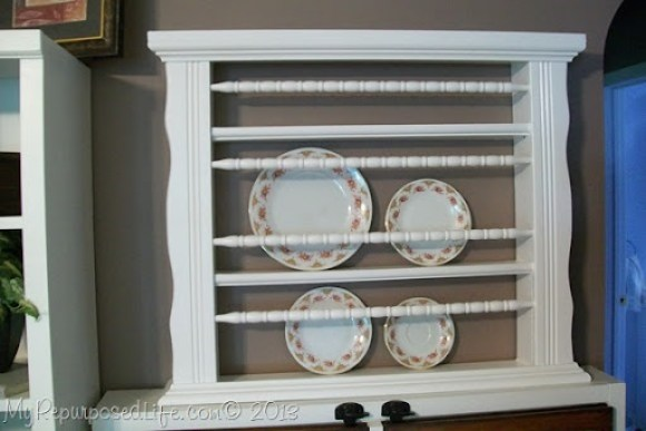 plate rack repurposed crib