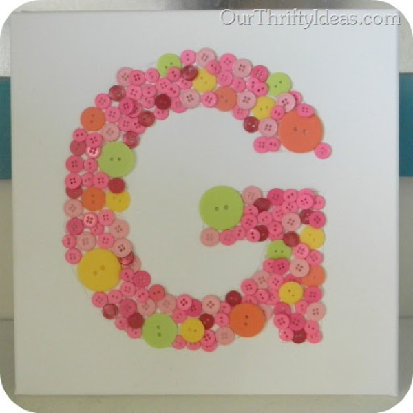 Button Letter on Canvas 6