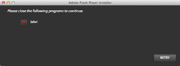 Adobe flash player close safari