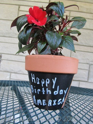 Plaid Chalkboard Paint flower pot
