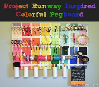 Colorful Project Runway Inspired Pegboard in use