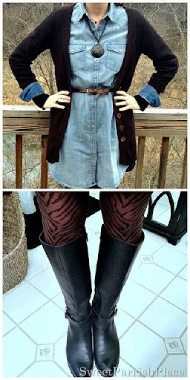 denim shirtdress, zebra tights, tall boots3