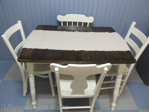 White table bas with stained top