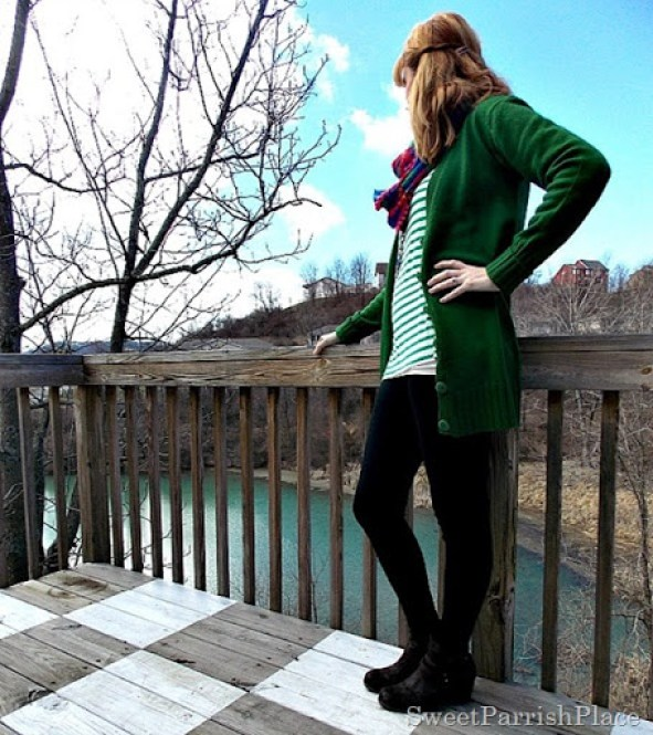 green cardigan , green stripes, floral scarf, brown boots1