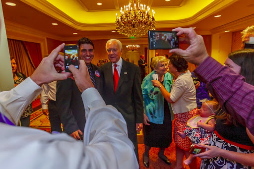 Utah Senator Orrin Hatch poses for photos with supporters on election night at the Little America Hotel in Salt Lake City, Utah, Tuesday, June 26, 2012
