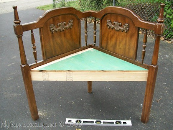 queen headboard repurposed into corner bench
