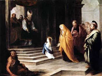 Nossa Senhora adentrando no templo aos três anos