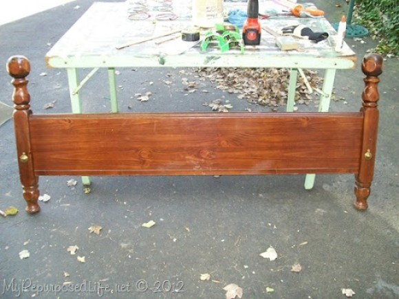 repurpose old headboard foot board