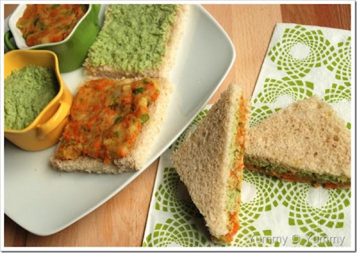 Veggie and Mint Chutney Sandwich