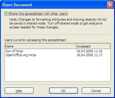 Shared Calc spreadsheets - OpenOffice.org Ninja