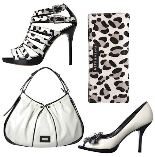 Leopard Print Strappy Gladiator Sandals by Karen Millen  Leopard Print Purse by Karen Millen  Monochrome Sling Bag by Karen Millen  Monochrome Peep Toe Court Shoes by Karen Millen