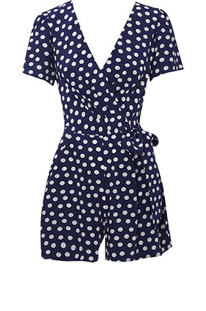 Oasis Polka Dot Silk Wrap Playsuit